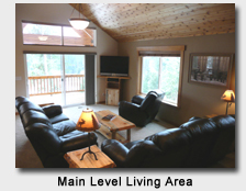 Cascade Rental Cabin Living Room with Leather Recliners